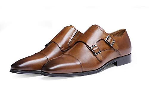 Punta Estrecha con Boda de de Hombres Brown Doble la Vestir Oxford Zapatos para de Brown Zapatos Size Color Cuero Lujo EU de Genuina Ruiyue los de 41 la Masculina Hebilla xZwqzOU8