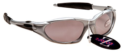 RayZor Professional Lightweight UV400 Silver Sports Wrap Cricket Sunglasses, With a Smoked Mirrored Anti-Glare Lens by Rayzor