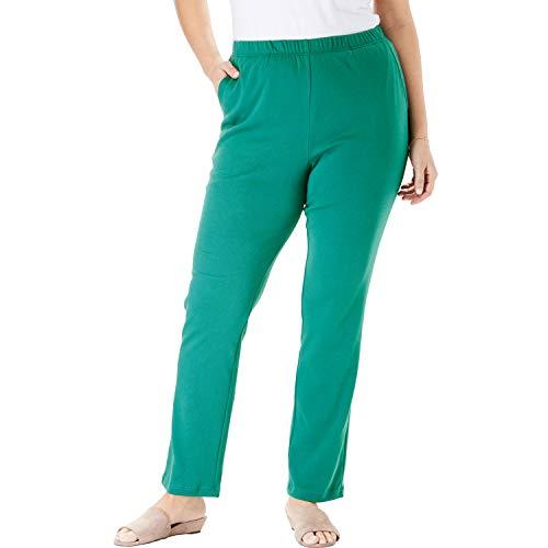 (Woman Within Women's Plus Size 7-Day Knit Straight Leg Pant - Foliage Green, 2X)