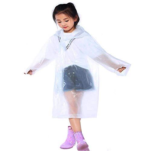IronBuddy Kids Raincoat Portable Reusable Hooded Rain Poncho Rainwear for Boys Girls (Pack of 2, White)