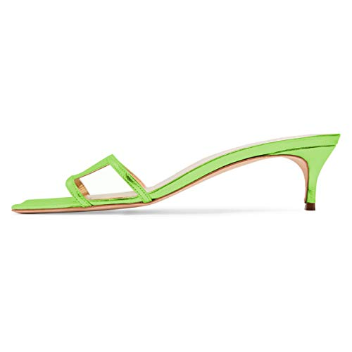 - YDN Women Square Open Toe Low Kitten Heels Slide Sandals Cutout Mules Pumps Summer Party Dress Shoes Lime Green 9.5