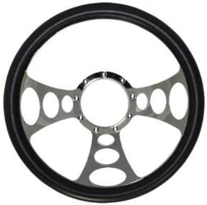14 Chrome Nine Hole Steering Wheel w//Half Wrap Black Leather