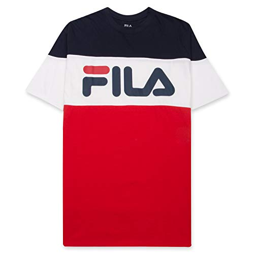 Fila Mens T Shirt Big and Tall Men - Color Blocking Short Sleeves Logo Vialli