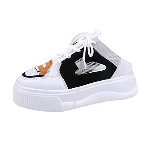 Women Canvas Shoes Platform Cutout Lace Up Round Toe Slip-On Walking Shoes (US:6, White)