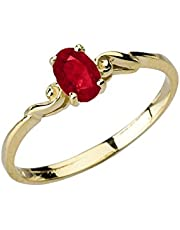 Dainty 10k Yellow Gold Genuine Ruby Swirled Engagement/Promise Solitaire Ring