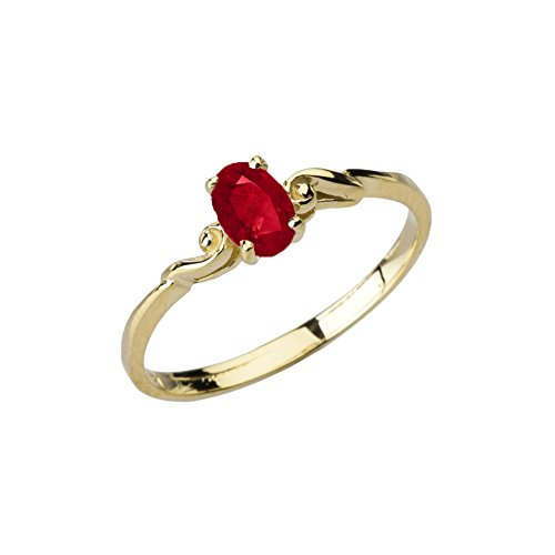 Dainty 10k Yellow Gold Genuine Ruby Swirled Engagement/Promise Solitaire Ring (Size 8) (Yellow Ring Claddagh Ruby Gold)