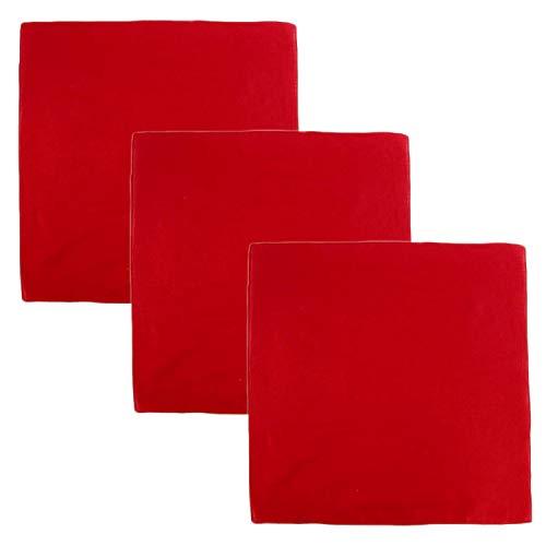 3 PK Cowboy Bandanas 100% Cotton 22 x 22 inch - Plain Red