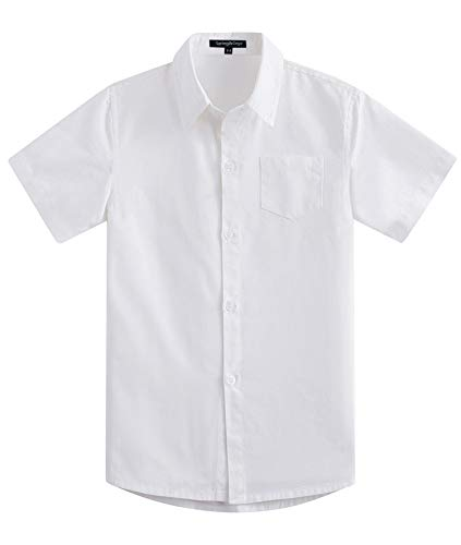 Spring&Gege Boys' Short Sleeve Solid Formal Cotton Twill Dress Shirts Cream White 13-14 -