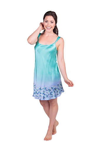 TexereSilk Women's Short Silk Nightgown Chemise (Periwinkle, Medium) Holiday Presents for Women WS0429-PRW-M (Periwinkle Nightgown)