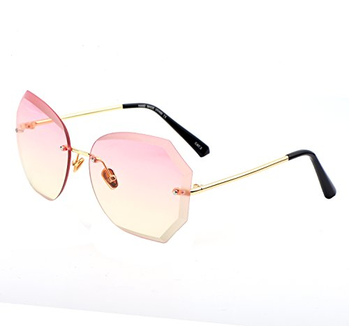 YANQIUYU Women's Irregular Diamond Polygon Rimless Oversized Sunglasses (Pink Gradient Lens, - Uv Is Good For Protection Sunglasses What A