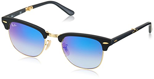 Ray-Ban RB2176 Clubmaster Folding Sunglasses, Matte Black/Blue Gradient Flash, 51 mm