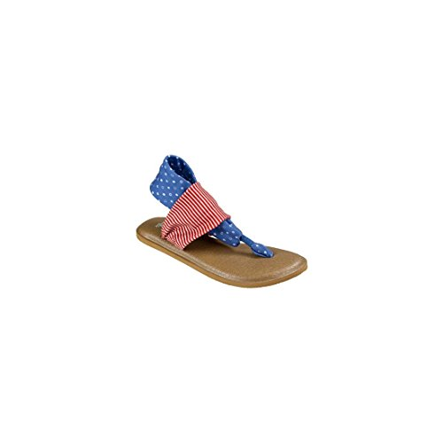 Sanuk Womens Yoga Sling 2 Prints Patriot Sandal Footwear, America Dots/Stripes, Size 07