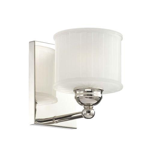 Polished Nickel Single Light - Minka Lavery Wall Sconce Lighting 6731-1-613, 1730 Series Reversible Damp Bath Vanity Fixture, 1LT, 100w, Polished Nickel