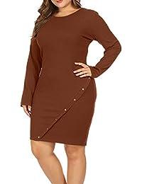 Women Plus Size Long Sleeve Knit Sweater Midi Dress Metal...