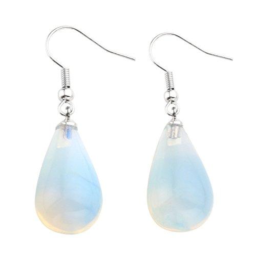 JOVIVI Womens Natural Amethyst Rose Quartz Opalite Gemstone Chakra Teardrop Dangle Hook Earrings 43mm (Long Gemstone Earrings)