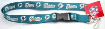 NFL Team Logo Key Chain Lanyard (Detachable Plastic Clip with Key Ring and Clip) (Miami Dolphins)
