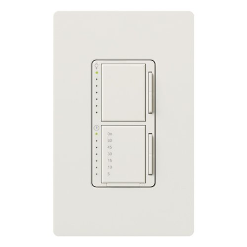Lutron MA-L3T251HW-WH Maestro 2.5-Amp 300-watt Single Pole Dual Dimmer and Timer Switch, White