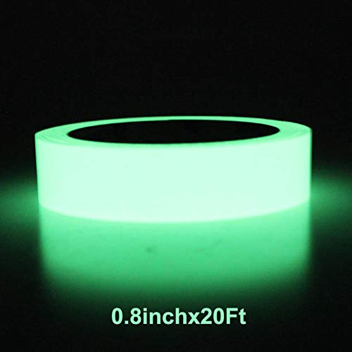Balidao Green Glow in The Dark Tape, 20 feet Length x 0.8 Inch Width, Removable Photoluminescent Luminous Tape Sticker, Wall Stairs Steps Glow in Dark Safety Duct Fluorescent Tape for Home, Office