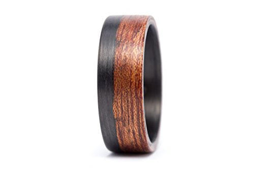 Men's carbon fiber and bentwood ring. Modern and natural wooden cedar wedding band. Water resistant, very durable and hypoallergenic. (00405_7N)