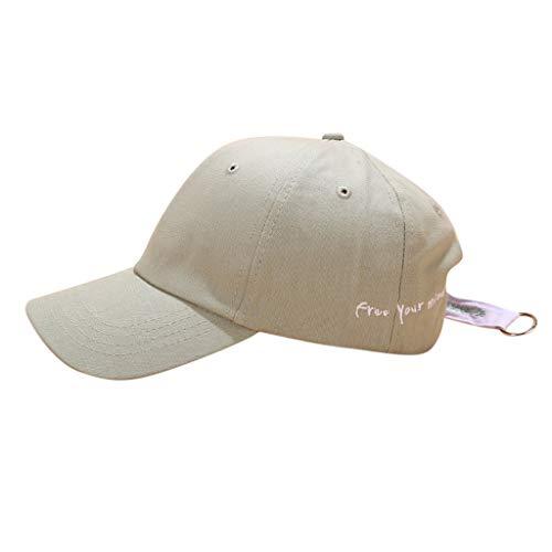 HYIRI Mountaineering Unisex Fashion Lron Rings Embroidery Baseball Adjustable Cap Casual Street Hats Green