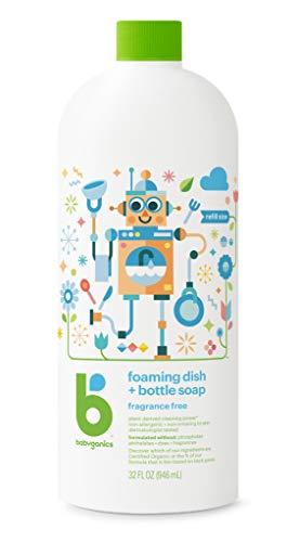 BabyGanics Foaming Dish and Bottle Soap Refill, Fragrance Free, 32oz Bottle (Babyganics Dish)
