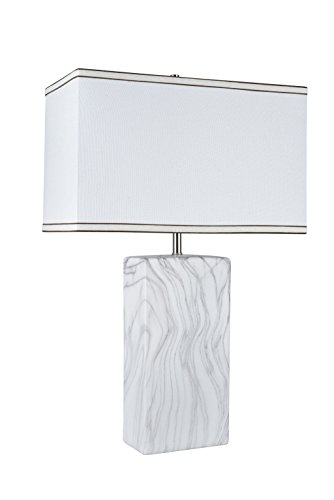 Aspen Creative 40078, 25 1/2u0022 High Transitional Ceramic Table Lamp, Marble Finish with Hardback Rectangle Shaped Lamp Shade in Off White, 16u0022 + 8u0022 Wide