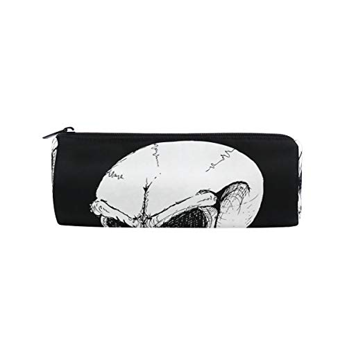 (IMOBABY Skull Devil Happy Halloween Cylinder Pencil Case Zipper Pen Bag Multi-Functional Stationery Pouch Travel Makeup)