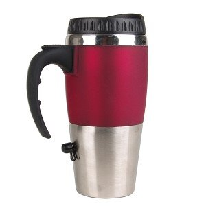 16oz Electronic Travel Cup Warmer w/USB Charger (Silver/Red)