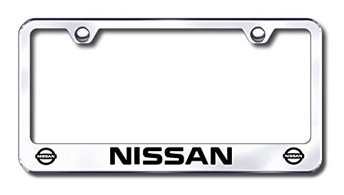 New Stainless Steel Chrome Nissan License Plate Frame W/Bolt Caps (License Nissan Frame Plate)
