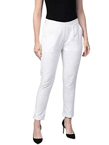 Yash Gallery Women's Cotton Slub Solid Regular Fit Casual Trouser Pants