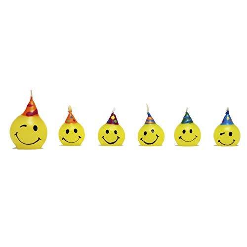 - Ideali Come Decorazione per Torte e Dolci candeline Faccine Tonde Gialle per Feste di Compleanno ECC Dream s Party 6 Candele Smile tonde
