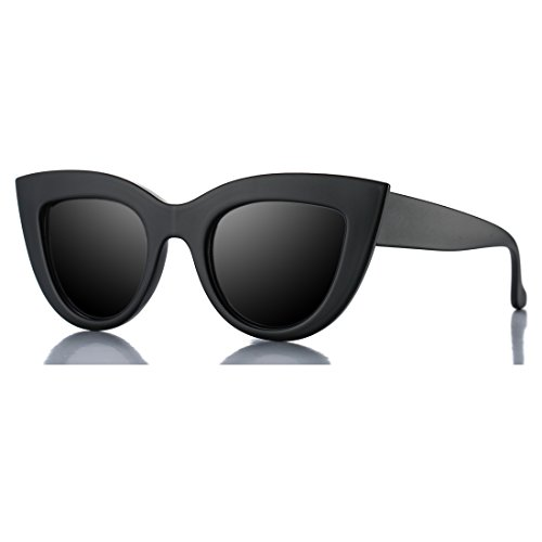 Retro Cateye Sunglasses for Women Fashion Mirror UV400 Protection Cat Eye Sun Glasses (Matte Black Frame/Black Lens)