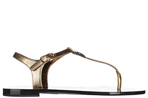 Dolce & Gabbana Women's Leather Sandals Gold US Size 6 (Dolce & Gabbana Leather Flats)