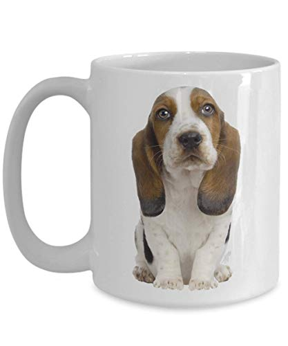 Basset Hound Dog Coffee Mug Hush Puppy Gift for Dog Mom Dad Owner Lover Groomer Walker Veterinarian Veterinary Assistant 11oz or BIG 15oz Original Dog