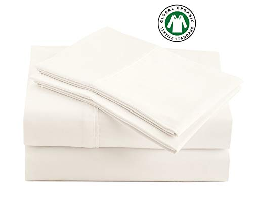 100% Organic Cotton Coconut Milk Queen-Sheets Set, 4-Piece Pure Organic Cotton Percale Weave Ultra Soft Best - Bedding Sheets for Bed, Breathable, GOTS Certified, Fits Mattress Upto 17