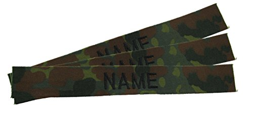 3 Pack of Flecktarn Camo Name Tape - BLACK Thread - SEW-ON (Uniforms German Camouflage)