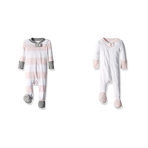 Burt's Bees Baby Baby Girls' 2 Pack Non-Slip Footed Sleeper Pajamas, Blossom Rugby Stripe/Blossom Twinkle Bee, 6-9 Months