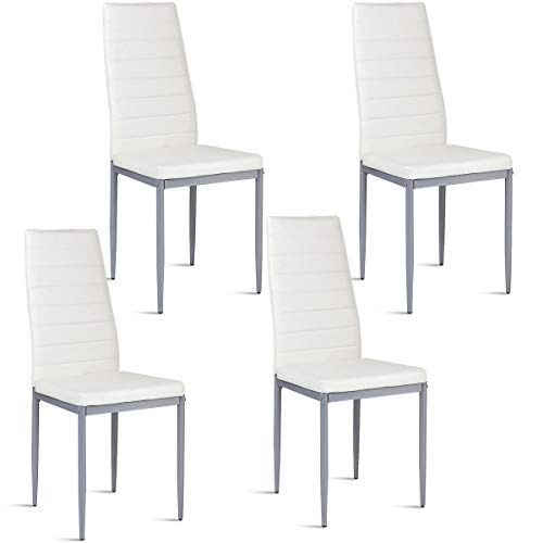 (Giantex Set of 4 PU Leather Dining Side Chairs with Padded Seat Foot Cap Protection Stable Frame Heavy Duty Elegant Ergonomically High Back Design for Kitchen Dining Room Home Furniture, White)