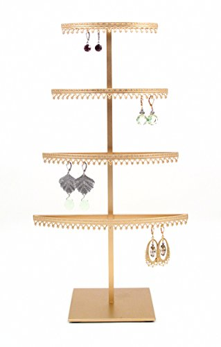 Royal Crown Display 4 Tier earring organizer stand with crown molding - Gold (Royal Crown Jewelry Display)
