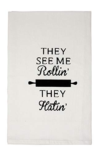 Nino and Baddow Funny Dishcloth Tea Towel Screen Printed Flour Sack Cotton Kitchen Table Linens They See Me Rollin' They Hatin'
