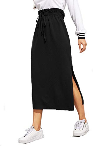 SheIn Women's Casual Solid High Waist Side Split Long Maxi Skirts Large Black#2