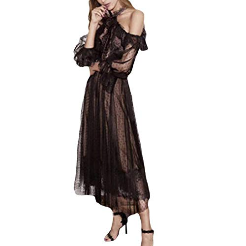 Y Lunares Cuello Frío Elegante Vestido De Cintura Gfsoediden Malla Alta Halter Black Con Hombro qA01wnwx