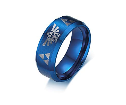 VNOX The Legend of Zelda Triforce 8MM Blue Matte Finished Stainless Steel Ring for Men Women,Size 11