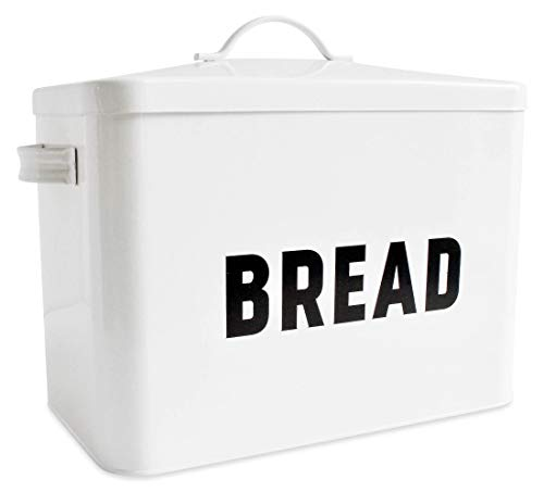 Bread Box for Kitchen Countertop – Extra Large Keeps 2+ Loaves Fresh – White Metal Bread Box Storage Bin for Farmhouse…