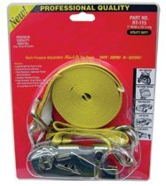 Ratch-It Tie Downs, Double J Hooks, 1 in W X 15 ft L, 3,000 lb Capacity (4 Pack)