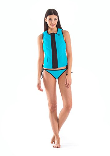 Glidesoul Women's Vibrant Stripes Collection Reversible Impact Vest, Black/Blue, XX-Small by GlideSoul