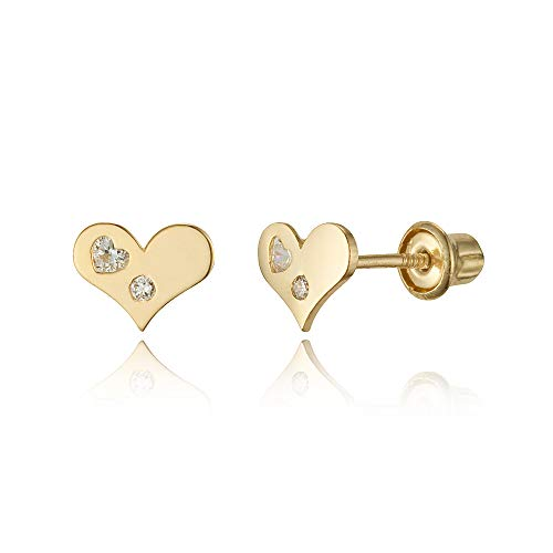 (14k Yellow Gold Heart Cubic Zirconia Children Screwback Baby Girls Stud Earrings)