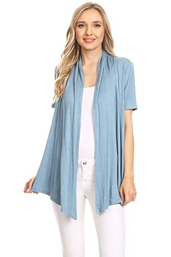 (Casual Basic Short Sleeves Open Front Draped Solid Cardigan/Made in USA Slate Blue XL)