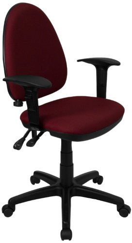 Flash Furniture Mid-Back Burgundy Fabric Multifunction Swivel Task Chair with Adjustable Lumbar Support and Adjustable Arms (Chair Burgundy Multi Task)