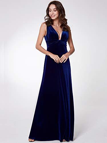 Abendkleider Samt Sexy 07182 Ausschnitt V Pretty Damen Ever Doppel Mitternachtsblau qxP0YO